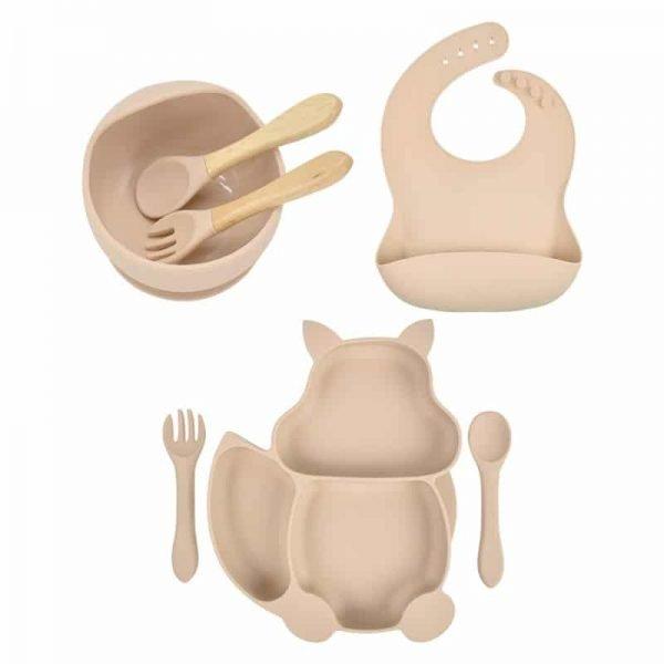 7pcs Baby Silicone Feeding Set — Beige