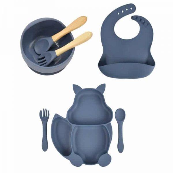 7pcs Baby Silicone Feeding Set — Dark Gray