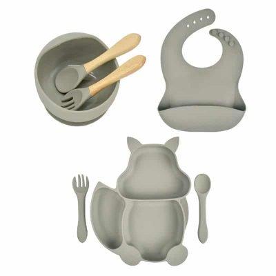 7pcs Baby Silicone Feeding Set — Grey