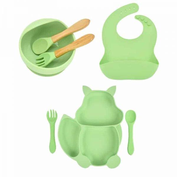 7pcs Baby Silicone Feeding Set — Light Green