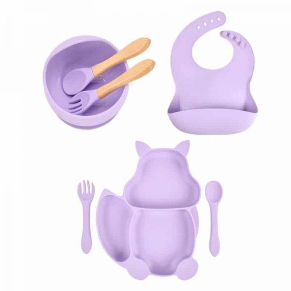 7pcs Baby Silicone Feeding Set — Lilac