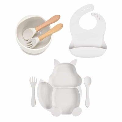 7pcs Baby Silicone Feeding Set — Off-white