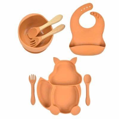 7pcs Baby Silicone Feeding Set — Orange