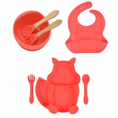 7pcs Baby Silicone Feeding Set — Red