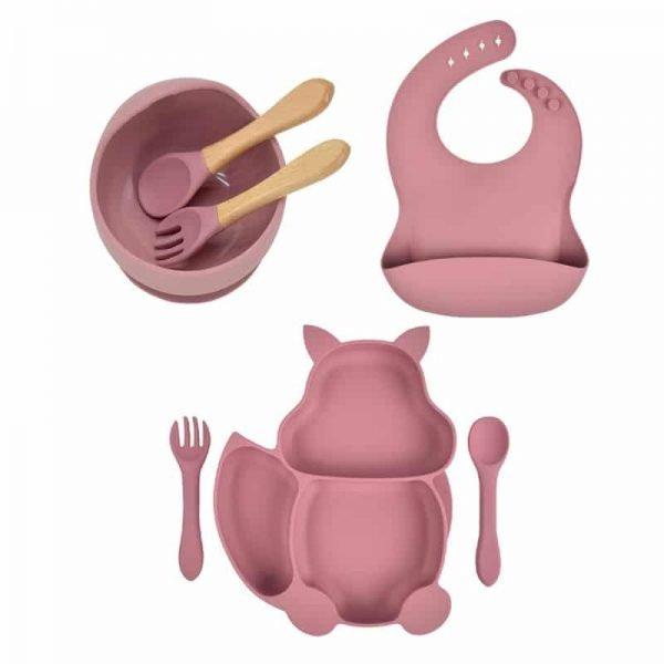 7pcs Baby Silicone Feeding Set — Rose Red