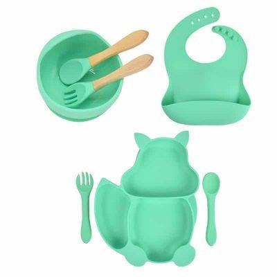 7pcs Baby Silicone Feeding Set — Sea Green