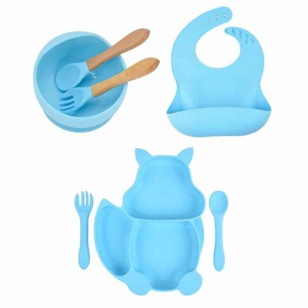 7pcs Baby Silicone Feeding Set — Sky Blue