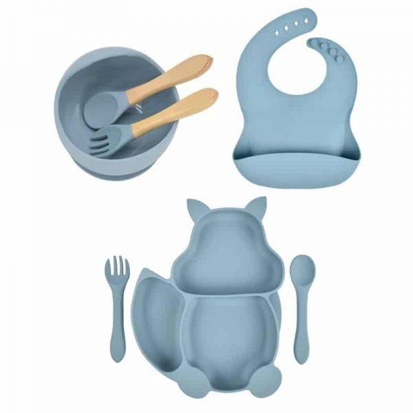7pcs Baby Silicone Feeding Set — blue