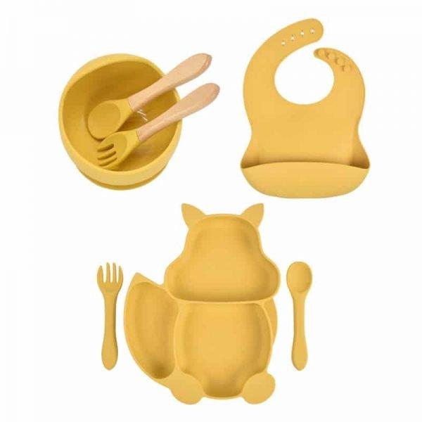7pcs Baby Silicone Feeding Set — gold