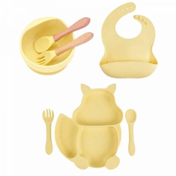 7pcs Baby Silicone Feeding Set — light gold