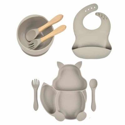7pcs Baby Silicone Feeding Set — light gray