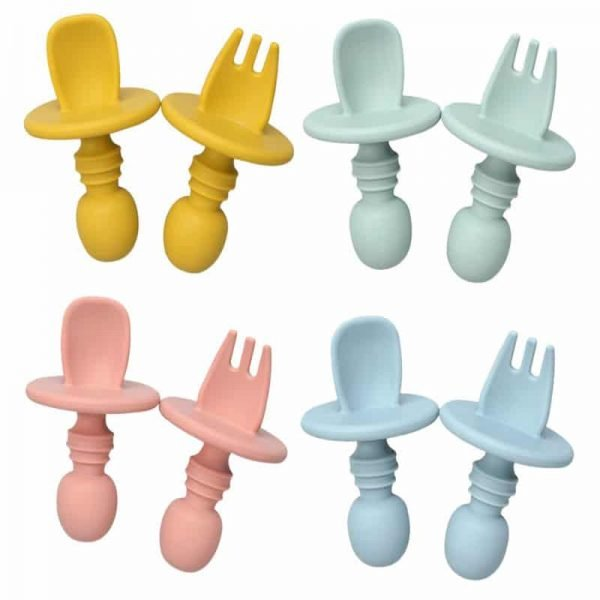 baby short handle silicone training fork spoon