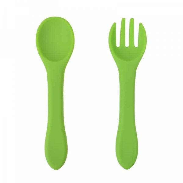 Baby silicone spoon and fork set - Dark green color