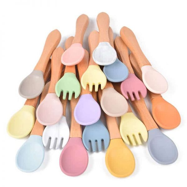 Baby silicone training spoon with wooden handle