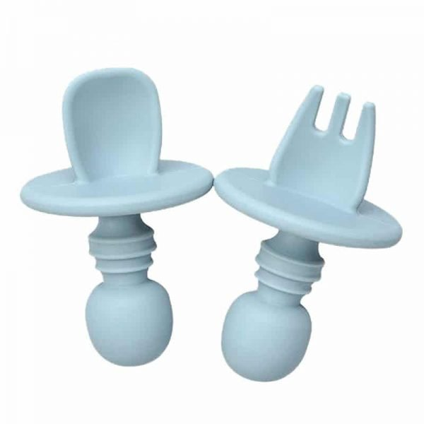 Blue baby short handle silicone training fork spoon