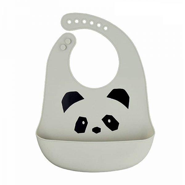 Silicone bib - Gray + panda pattern