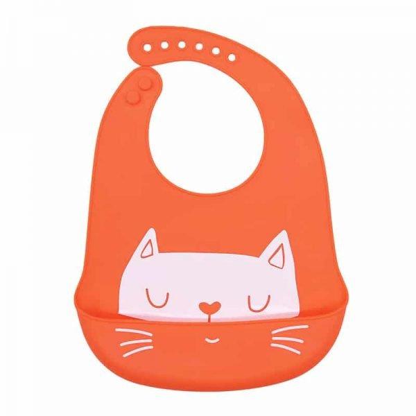 Silicone bib - Orange + cat pattern