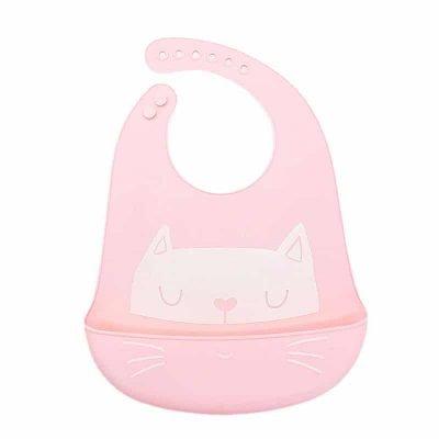 Silicone bib - Pink + cat pattern