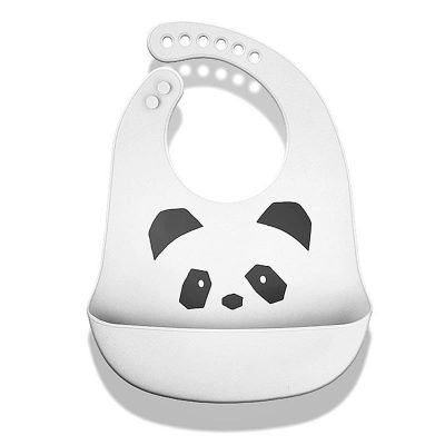 Silicone bib - White + panda pattern