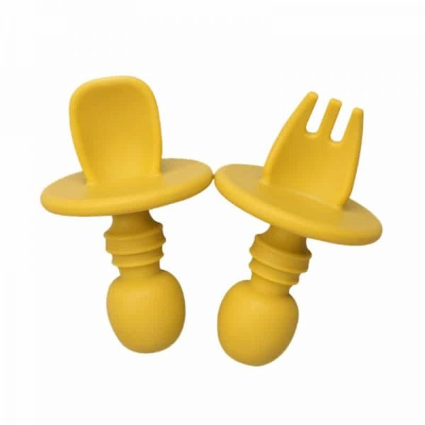 Yellow baby short handle silicone training fork spoon